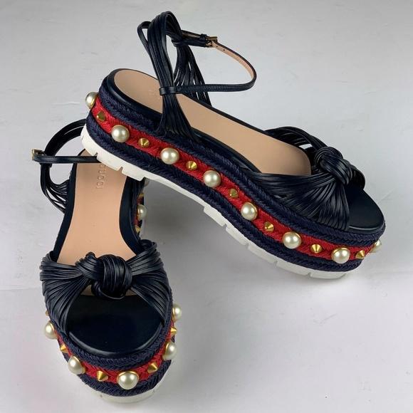 c3563f98e616 Gucci Barbette Platform Studded Sandal sz 36.5